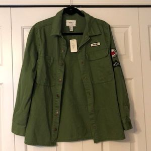 Forever 21 Jackets & Coats - NWT oversized military jacket w/ patches